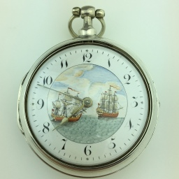 Antique solid silver pocket watch with paint dial