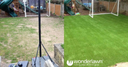 before and after artificial grass installation