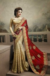 Beige And Red Net With Satin Saree
