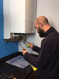 Boiler being installed