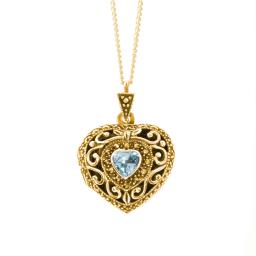 Lily Blanche Blue Topaz Vintage Heart Locket