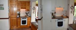 Before Dark Wood After Light Grey Kitchen Doors Alsager