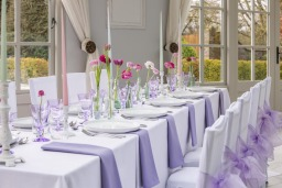 Summer Lavender napkins and organza chair sashes