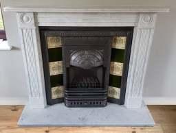 Georgian honed Carrara marble fire made to order