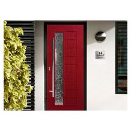 Contemporary Red Composite Door with Back frame and Pull Handle