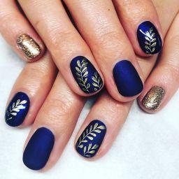 Velvet matte over blue jazz nails
