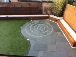 Modern EM Silver/Grey Patio & Artificial Grass
