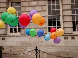 Printed balloons at City Hall