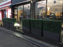 artificial hedge planters for restaurant