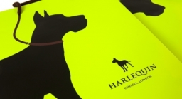 Harlequin branding and bag