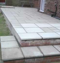 old base not square ,re layed on an angle and cut straight ,patio re lay Nottingham .