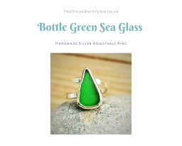 Handmade Silver Adjustable Sea Glass Ring