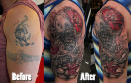 Koi Tattoo cover up London Blue Lady Tattoo