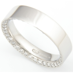Platinum Concave Chamfered Edge Diamond Set Wedding Ring