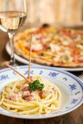 Bucanti Carbornara - tubular spaghetti with fried