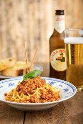 Spaghetti alla bolognese rich minced beef and toma