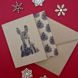 Donkey And Pine Cone Cutaway Card