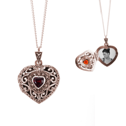 Lily Blanche Garnet Vintage Heart Locket RoseGold
