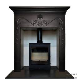 Art Nouveau cast iron stove surround