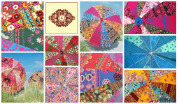 Indian Parasols, Garden umbrella. Collage