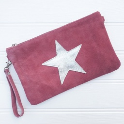 Rose, Suede Star Clutch Bag