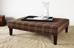Heritage Table stool with tartan fabric