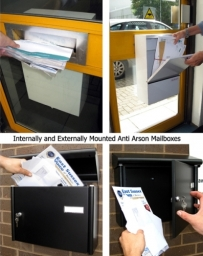 Anti-arson products and internal / external mailboxes