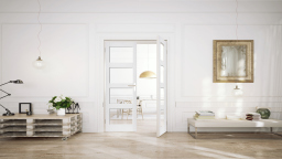 Internal White Shaker 4 Light Clear French Doors