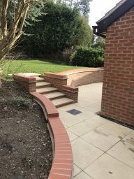Patio, brickwork and steps by builders Leicester