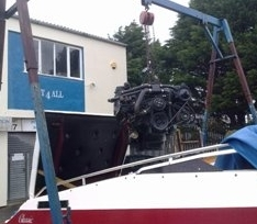 A V8 Mercruiser, lack of antifreeze meant it popped a core plug and the engine had to be removed to fit a replacement!!