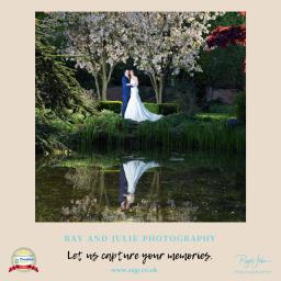 Bride and Groom in Saltmarshe Hall gardens