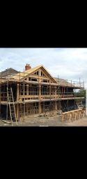 D & G Scaffolding for oak frame extension