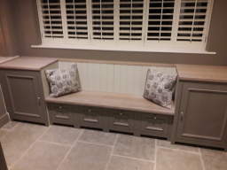 Hand made built in window seat and storage unit