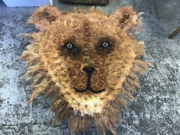 Lions head made of flowers