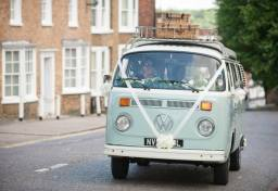 Buttercup Bus - blue wedding car campervan hire