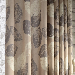 Voila Voile Block Leaf Brown Curtain