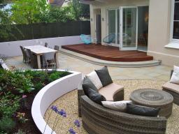 York stone terrace, steps and hardwood decking