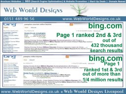 Client BING search engine ranking with organic SEO