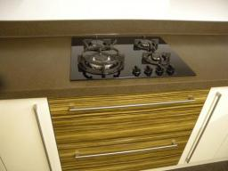 Gas on glass set in Encore solid surface veneer in our showroom