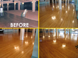 Floor cleaning, sanding and sealing at commercial