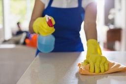 cleaning a countertop in the kitchen