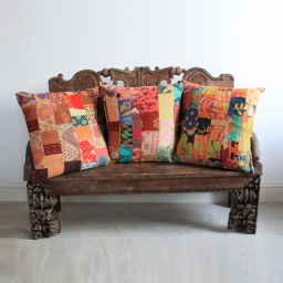 Kantha cushions, antique carved wooden bench