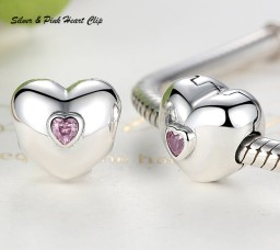 Silver & Pink Heart Clip