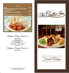 Castle Inn Menu Page 1