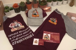 Uniform, business cards and flyers