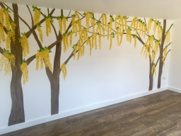 Tree wall painting - golden chain tree