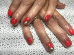 Red and Glitter Design Nails