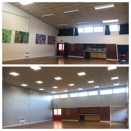 School Hall refurb before & after