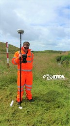 Taking a land survey Ground Control Point Reading