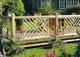 Outdoor wooden panels with metal spindles